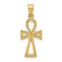 14k gold	Egyptian Ankh	cross pendant measures 716w x 1h weighs 12 g