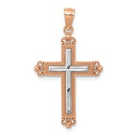 14k rose gold fleur de lis cross pendant with rhodium weighs 11g
