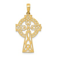 14k gold celtic cutout cross pendant polished celtic cross pendant measures 11/16w x 1h weighs 1.17g