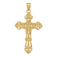 HUGE 14k gold fleur de lis cross pendant floral flower weighs 941g