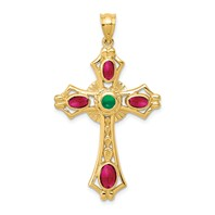 14k gold Ruby and Emerald Cabochon Cross Pendant cross pendant Celtic Cross genuine stone