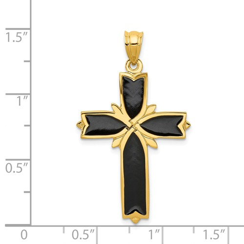 14k gold black cross pendant not engravable weighs 29g