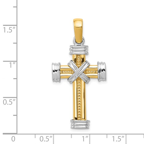 14k gold two tone cross pendant with X detail in center measures 1316w x 1 916h weighs 5