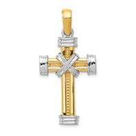 14k gold two tone cross pendant with X detail in center measures 13/16w x 1 9/16h weighs 5.2g