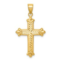 14k gold fleur de lis cross pendant hollow diamond cut accents measures 34w x 1 38h wei