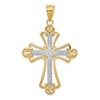 14k gold cross pendant diamond cut with beaded detail weighs 1.53g