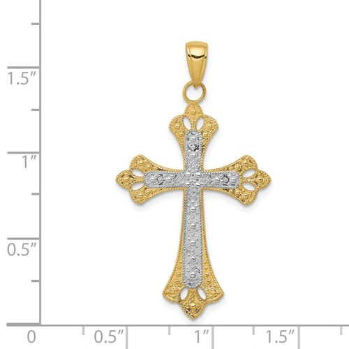 14k gold budded cross pendant textured with rhodium accents weighs 172g