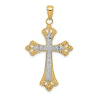 14k gold budded cross pendant textured with rhodium accents weighs 1.72g