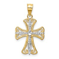 14k gold cross pendant diamond cut two tone measures 9/16w x 11/16h weighs 0.8g