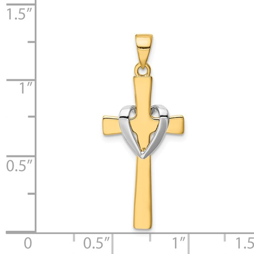 14k gold heart cross pendant with rhodium heart sash measures 916w x 1 18h weighs 12g