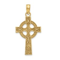 14k gold celtic cross pendant eternity circle with symbols measures 1/2w x 1h weighs 0.91g