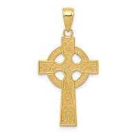 14k gold celtic cross pendant eternity circle with symbols textured back measures 1116w