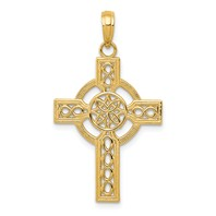 14k gold celtic iona cross pendant with eternity circle and cut outs measures 1116w x 1 3