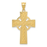14k gold celtic cross pendant textured with trinity symbol tips measures 3/4w x 1 5/16h weighs 1.79g