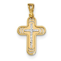 14k gold cross pendant rounded with edge rim measures 916w x 1h weighs 09g