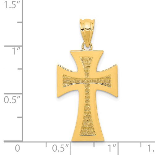 14k gold cross pendant polished and textured measures 58w x 1 18h weighs 141g