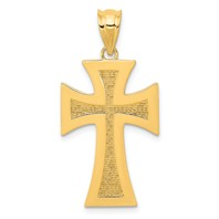 14k gold cross pendant polished and textured measures 5/8w x 1 1/8h weighs 1.41g