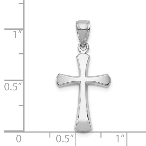 14k white gold beveled cross pendant with rounded tips measures 916w x 1 18h weighs 14g