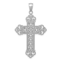 14k white gold filigree budded cross pendant  weighs 24g
