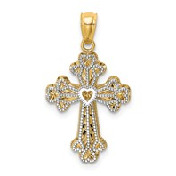 STUNNING 14k gold reversible cross pendant small cross with heart measures 5/8w x 1h weighs 1.5g