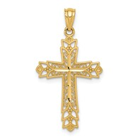 14k gold reversible filigree cross pendant  weighs 0.94g