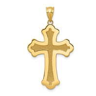 14k gold polished cross pendant with inset texture weighs 192g