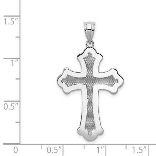 14k white gold polished cross pendant with inset texture weighs 18g