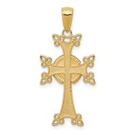 14k gold Armenian Cross Pendant cross pendant with textured back measures 5/8w x 1 1/4h weighs 1.61g