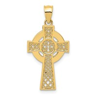 14k gold celtic iona cross pendant with high polish eternity circle and cut outs measures
