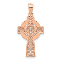 14k rose gold celtic iona cross pendant with high polish eternity circle and cut outs measures 9/16w x 1 1/16h weighs 1.07g
