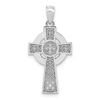 14k white gold celtic iona cross pendant with high polish eternity circle and cut outs mea