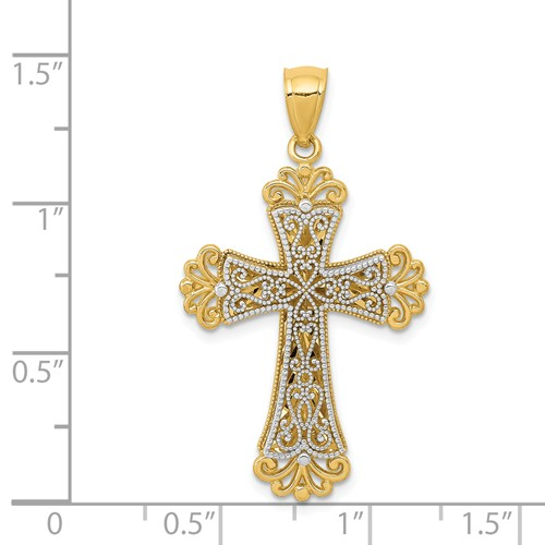 14k gold cross pendant two tone weighs 184g