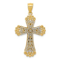 14k gold cross pendant two tone weighs 1.84g