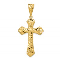 14k gold diamond cut cross pendant passion cross measures 1 1/16w x 1 11/16h weighs 4.41g