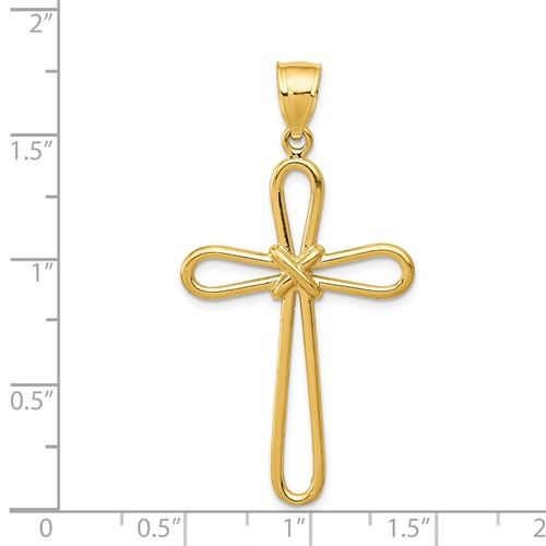 14k gold rounded cross pendant with center X measures 1 18w x 1 516h weighs 226g