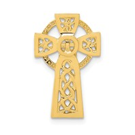 14k gold celtic cross pendant  measures 12w x 34h weighs 121g