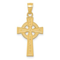14k gold celtic cross pendant reversible measures 1/2w x 1 1/16h weighs 0.85g