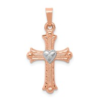 14k rose gold diamond cross pendant 01 carat diamond cross two tone weighs 075g