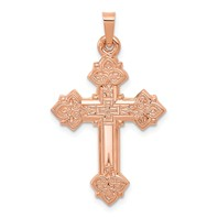 14k rose gold cross ornate with stunning detail cross pendant  weighs 123g