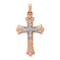 14k rose gold cross pendant two tone 120 ct diamond weighs 125g
