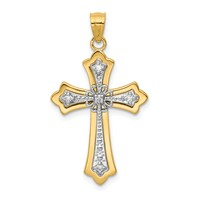 14k gold cross pendant 115 carat diamond two tone weighs 168g