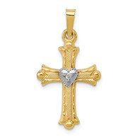 14k gold fleur de lis heart cross pendant with .01ct diamond weighs 0.84g