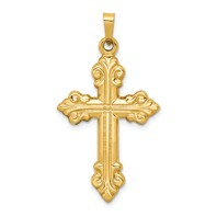 14k gold fleur de lis cross pendant  weighs 111g