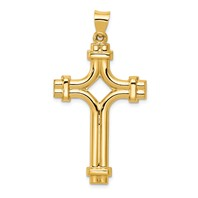 14k gold cross pendant hollow polished flat back measures 1w x 1 34h weighs 159g