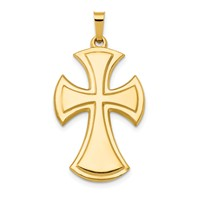 14k gold polished cross pendant  measures 11/16w x 1 5/16h weighs 1.41g