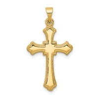 14k white gold budded cross pendant square center with beaded edge can engrave initial we