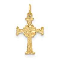 14k gold celtic cross pendant charm measures 3/8w x 11/16h weighs 0.23g