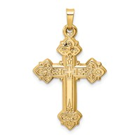 14k gold cross ornate with stunning detail cross pendant hollow polished back weighs 12