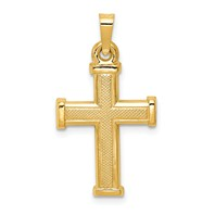 14k gold textured front cross pendant measures 9/16w x 1h weighs 0.85g