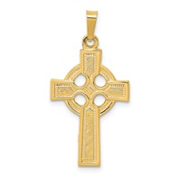 14k gold celtic cross pendant with eternity circle